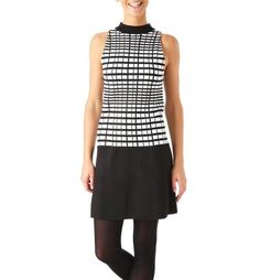 Knit+dress. Make a fashion statement in this knit dress. With a graphic jacquard pattern on the upper section. Raised neckline. Sleeveless shape. Slightly flared lower skirt section. Upper back zip.  Reference PROMOD ® : 1-1-20-00-99-501 Colour: Black print