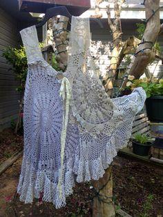 Luv Lucy Crochet Tunic Lucy's Silver Pearl by LuvLucyArtToWear