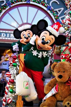 Disneyland // Mickey Mouse and Minnie Mouse in A Christmas Fantasy Parade at Dis… - Thanksgiving Wallpaper Disneyland Paris Noel, Disneyland Christmas, Mickey Mouse Christmas, Mickey Mouse And Friends, Minnie Mouse, Tokyo Disneyland, Disney Love, Disney Magic, Disney Mickey