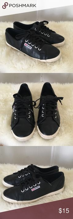 Superga Black Faux Leather Sneakers Size 8 Super cute black Superga sneakers. These are very cool and so comfortable. Some wear but overall good used condition. Pairing down my closet otherwise I would keep them. All offers welcomed! Superga Shoes Sneakers