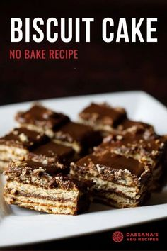Biscuit cake is one of the easiest and yummy cake one can make. This no bake biscuit cake has chocolate in it and tastes too good. No Bake Biscuit Cake, Chocolate Biscuit Cake, Cocoa Cake, Chocolate Cookie Recipes, No Bake Cake, Egg Free Desserts, Eggless Desserts, Indian Desserts, Tasty Vegetarian Recipes