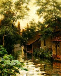 Louis Aston Knight - Cottages Along The River