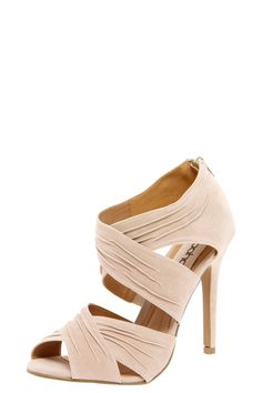 Like the style -- Maybe in a different color?    Jerricca Beige Cross Strap Peeptoe Heels//