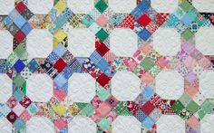 9-Patch and Snowball -  Martha Dellasega Gray, 2001 -  hand pieced, hand quilted -  70″ x 80″