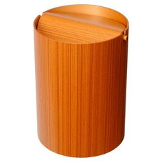 Lidded Teak Waste Basket