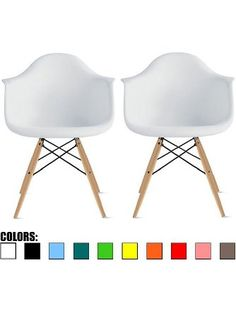 2xhome - Set of Two (2) White - Eames Style Armchair Natural Wood Legs Eiffel Dining Room Chair - Lounge Chair Arm Chair Arms Chairs Seats Wooden Wood Leg Wire Leg ❤ 2xhome