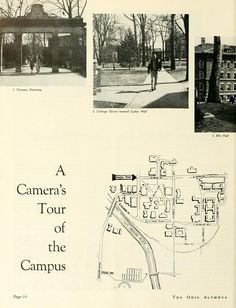 "The Ohio Alumnus, April 1957. ""A Camera's Tour of the Campus."" A tour of Ohio University is given through many photographs of the campus, allowing for readers to refamiliarize themselves with their alma mater. :: Ohio University Archives"