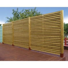 Wooden Contemporary Garden Fence Panel by Grange Contemporary Fence Panels, Modern Fence Panels, Decorative Fence Panels, Contemporary Garden Design, Wood Fence Gates, Wood Fence Design, Timber Fencing, Bamboo Fence, Wire Fence