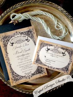Gold and Black wedding invitations. Baroque. Royal. Vintage. Antique. Rustic. elegant. Printed. by CupidDesigns on Etsy https://www.etsy.com/listing/194343648/gold-and-black-wedding-invitations