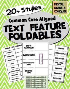 Text Feature Foldables!  Over 21 different text features, plus another 8 digital text features. ($3)