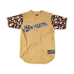And Still Custom Jersey: Milwaukee Brewers ($125) ❤ liked on Polyvore featuring tops, shirts, jerseys, t-shirts, shirt tops, jersey shirts, jersey top, beige top and beige shirt