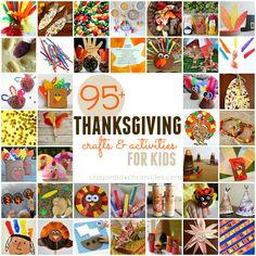 95+ Easy Thanksgiving crafts and activities for children - turkey crafts,  indian corn crafts, fall crafts, pilgrim crafts and more.