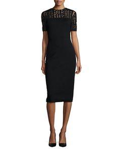 Lace-Yoked Jersey Sheath Dress by Jason Wu at Neiman Marcus.