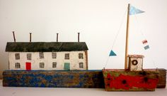 Driftwood cottage and boat by Kirsty Elson Designs