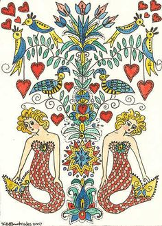 Fraktur Mermaids Hearts  Birds Flowers ACEO by by THEODORADESIGNS, $5.00
