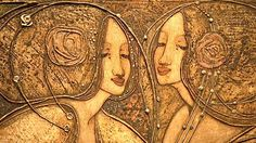 Detail of a gesso panel by Margaret MacDonald Mackintosh, wife and collaborator of Charles Rennie Mackintosh.