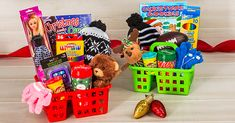 Christmas Gift Baskets For Kids Dollar Tree Baskets, Dollar Tree Gifts, Dollar Tree Christmas, Diy Christmas Baskets, Cheap Christmas Gifts, Christmas Presents, Christmas Ideas, Holiday Gift Guide, Holiday Gifts