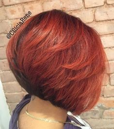 Angled black and red bob with layers - Hair Models Bob Hairstyles For Thick, Haircut For Thick Hair, Diy Hairstyles, Black Hairstyles, Hairstyles 2018, Hairdos, Layered Bob Hairstyles For Black Women, Ladies Hairstyles, Updos Hairstyle