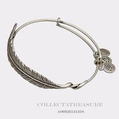 Authentic Alex And Ani Plume Feather Russian Silver Charm Bangle