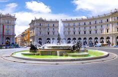 Itália, Itália, Roma, Roma, Náiades fonte Praça de República, cidade, edifícios, casas Vetor