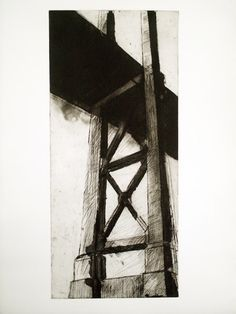 Golden Gate 3 x Lynn Newcomb part of a series of Golden Gate Bridge San Francisco Tool Design, Golden Gate Bridge, Printmaking, San Francisco, Sculpture, Tools, Black And White, Abstract, Create