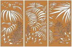 Laser Cut Corten Steel Garden Screen - Set of 3 Multipanel Ferns from Earth Homewares