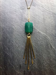 Hammered Brass Bones and Green Onyx Star by LoopHandmadeJewelry