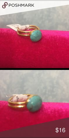 Gold and Turquoise Ring Jasper Elise M turquoise adjustable ring. Fits size 6 finger perfectly unadjusted. See my closet for coordinating earrings! Jewelry Rings
