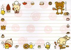 :] Rilakkuma circle of love Stationery Craft, Kawaii Stationery, Notebook Paper Printable, Pen Pal Letters, Cute Notes, Notes Design, Letter Set, Little Twin Stars, Rilakkuma