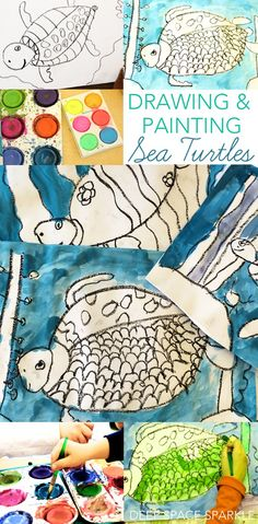 How to draw and paint a sea turtle using simple art supplies. Art projects for kids - USE watercolors Art Lessons For Kids, Art Lessons Elementary, Art For Kids, Ocean Projects, Easy Art Projects, Sea Life Art, Sea Art, Art Journal Pages, Sea Turtle Art