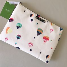 "Kate Spade Ballon Pouch Smooth leather with matching trim Capital kate jacquard lining Cosmetic pouch with zip top closure 7.2"" h x 10.1"" w kate spade Bags"