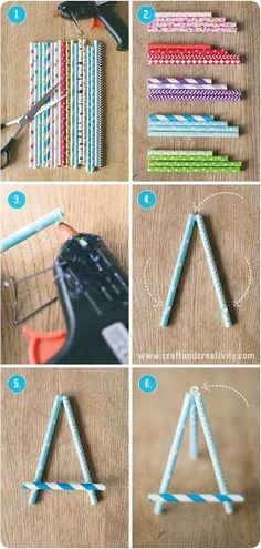 Ministaffli av papperssugr�r � Paper straw easel - Craft & Creativity by MyLittleCornerOfTheWorld