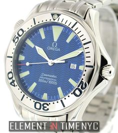 #Omega #Seamaster 300M Chronometer 41mm iN Stainless Steel With A Blue Wave Dial (2065.80.00)