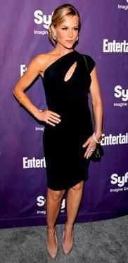 Who made Julie Benz's black cut out dress and nude pumps that she wore to the Entertainment Weekly & SYFY party in San Diego? Dress – Mason  Shoes – Brian Atwood