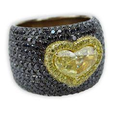 GIA Certified Carat Heart Shape Fancy Intense Yellow Diamond and 18 Karat Yellow Gold Ring – Kodner Galleries Yellow Gold Rings, Galleries, Heart Shapes, Diamond Jewelry, Diamonds, Gems, Wedding Rings, Bronze, Fancy