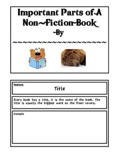 This book is created to help walk students through the parts of non-fiction texts. They are given definitions with examples. Then they are asked to...