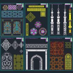 AutoCad collection of Islamic decoration pieces - Architecture for Design Mosque Architecture, Architecture Design, Plan Autocad, Exterior Wall Cladding, Arabic Decor, Cnc Cutting Design, 2d Game Art, Door Gate Design, Architectural House Plans
