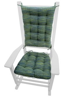 Brisbane Teal rocking chair cushions are made in a smooth-textured tweedin ocean shades of blue, teal and green. Made in USA with American Made Materials.  #colorful #aqua