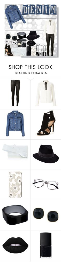 """""""Denim Jacket (Dark Wash)"""" by ashieluvsyou ❤ liked on Polyvore featuring AG Adriano Goldschmied, Lipsy, Topshop, Delpozo, Penmayne of London, Kate Spade, ABS by Allen Schwartz, Lime Crime, NARS Cosmetics and Christian Dior"""