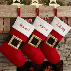 Buy personalized Christmas stockings & add any name to our festive Santa Belt design. Free per. Top 5 Christmas Gifts, Pet Christmas Stockings, Embroidered Christmas Stockings, Office Christmas, Personalized Christmas Gifts, Felt Christmas, Family Christmas, Christmas Decorations, Diy Stockings