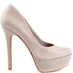 Earn your fashion credentials in this stunner from Jessica Simpson. Waleo brings you smooth versatile grey leather upper. This pump is complete with a picture perfect almond shaped toe, 4 3/4 inch heel and 1 1/4 inch platform.