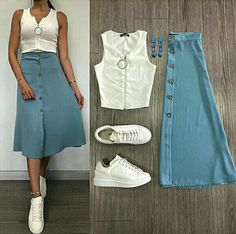 Which combination do you prefer? Don't forget to tag your friends like us biz. Modest Dresses, Modest Outfits, Classy Outfits, Skirt Outfits, Trendy Outfits, Casual Dresses, Summer Outfits, Nice Outfits, Casual Clothes