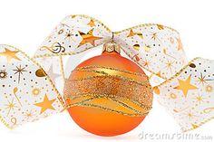 Orange christmas ball with decorative ribbon