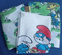 Smurfs Vintage 80s Twin Pillow Case Fitted & Flat Bed Sheet Complete Set Unisex #Smurfs