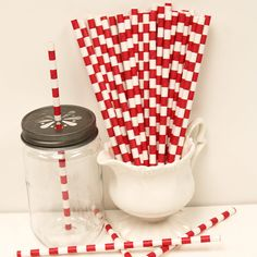 SAILOR STRIPED Paper Straws 25 Red Straws 4th of by ThePartyFairy
