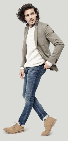 Goodfellow outfit inspiration for fall with slim cut blue jeans white cable  knit sweater beige blazer 6f26c83ef3d
