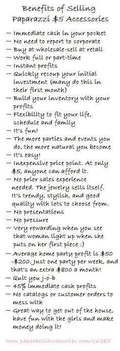 Benefits of selling Paparazzi
