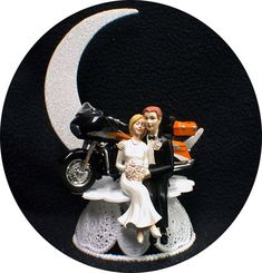 Motorcycle Wedding Cake Topper W/ Sexy classic by YourCakeTopper