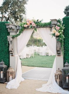 Romantic arch: http://www.stylemepretty.com/2014/09/08/modern-tuscan-inspired-wedding-with-pops-of-color/ | Photography: Jen Huang Photography - http://jenhuangphotography.com/