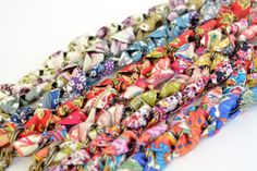 €15.00: Liberty Cotton Fabric Bracelet  Braid on Chain  by SOPHIEetRENEE on Etsy